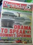 Obama to Speak at Summit Opening; Manning: TT Corn Soup will help Morales
